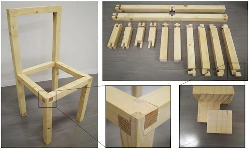 Many complex interlocking components of a wooden chair that do not require tools for assembly.